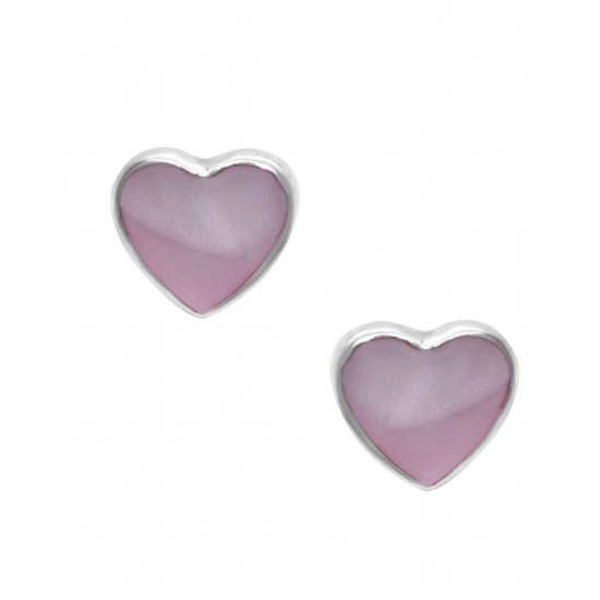 Designer Love Heart Pink Studs in 92.5 Sterling Silver and Mother of Pearl for Women and Girls. Valentine Gifts for Girlfriend Wife Gift for her
