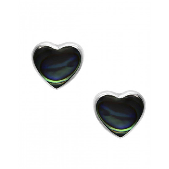 Designer Love Heart Blue Studs in 92.5 Sterling Silver and Mother of Pearl for Women and Girls. Valentine Gifts for Girlfriend Wife Gift for her