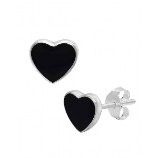 Designer Love Heart Black Studs in 92.5 Sterling Silver and Mother of Pearl for Women and Girls. Valentine Gifts for Girlfriend Wife Gift for her