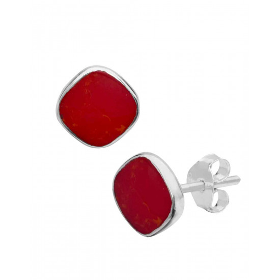 Designer Red Studs in 92.5 Sterling Silver in Mother of Pearl for Women and Girls. Valentine Gifts for Girlfriend Wife Gift for her
