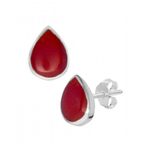 Designer Red Pear Shape Studs in 92.5 Sterling Silver and Mother of Pearl for Women and Girls. Valentine Gifts for Girlfriend Wife Gift for her