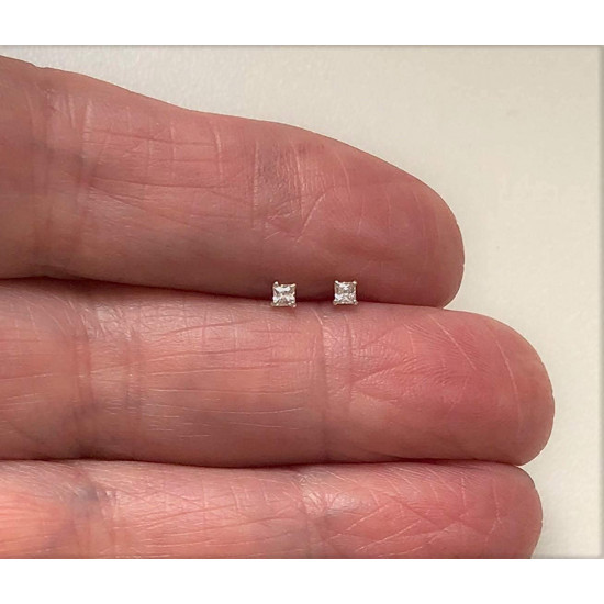 925 Sterling Silver pair of Square shape 2mm Single White Cubic Zircon (CZ) Stone Solitaire Stud Earrings For Men, Women,Girls & Boys Helix Cartilage Tragus Ear Lobe Multi Piercing