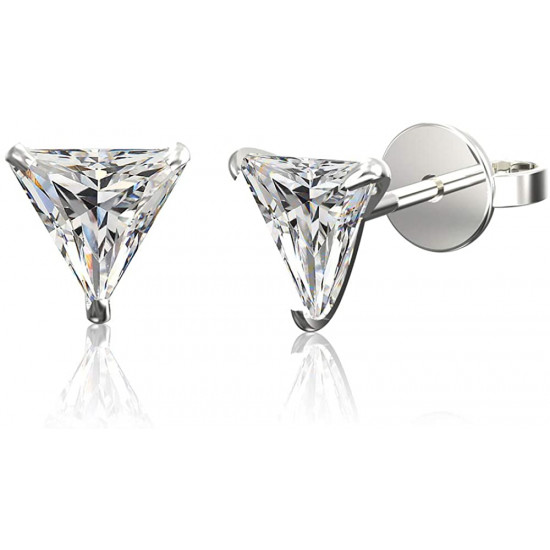925 Sterling Silver pair of Triangle shape 4mm White Cubic Zircon (CZ) Stone Solitaire Stud Earrings For Women and Girls