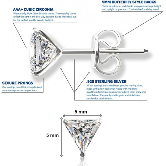 925 Sterling Silver pair of Triangle shape 5mm White Cubic Zircon (CZ) Stone Solitaire Stud Earrings For Women and Girls