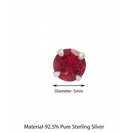 925 Sterling Silver Pair of Round Single Ruby Red 5mm CZ Stone Piercing Stud Earrings for Women & Girls Stylish Latest Gift to Friend Sister Wife