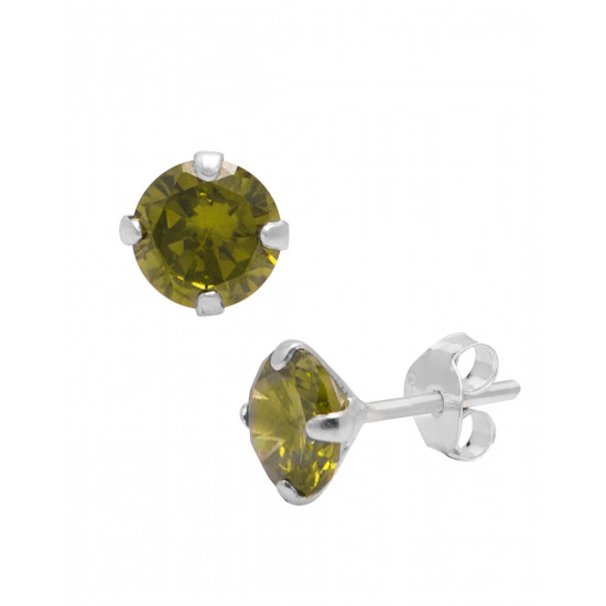 925 Sterling Silver Pair of Round Single Mehandi Green 5mm CZ Stone Piercing Stud Earrings for Women & Girls Stylish Latest Gift to Friend Sister Wife