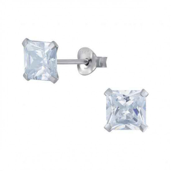 925 Sterling Silver pair of Square shape 7mm Single White Cubic Zircon (CZ) Stone Solitaire Stud Earrings For Men, Women,Girls & Boys