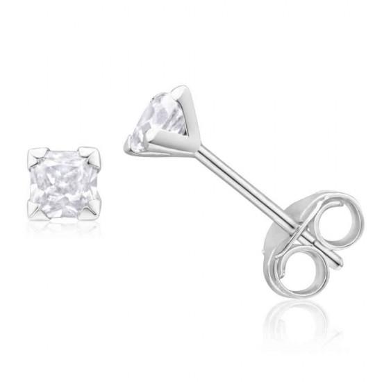 925 Sterling Silver pair of Square shape 3mm Single White Cubic Zircon (CZ) Stone Solitaire Stud Earrings For Men, Women,Girls & Boys Helix Cartilage Tragus Ear Lobe Multi Piercing