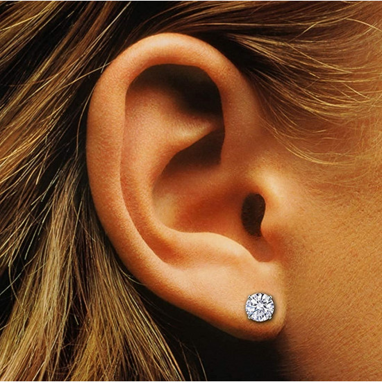 925 Sterling Silver Silver pair of Round shape 7mm Single White Cubic Zircon (CZ) Stone Solitaire Stud Earrings For Men, Women,Girls & Boys