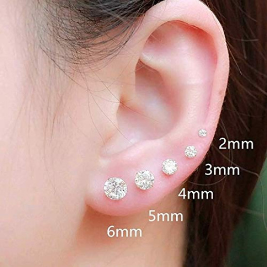 925 Sterling Silver Silver pair of Round shape 6mm Single White Cubic Zircon (CZ) Stone Solitaire Stud Earrings For Men, Women,Girls & Boys