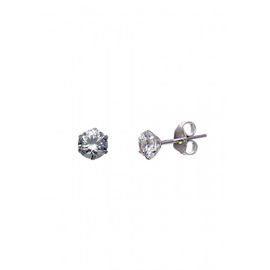 925 Sterling Silver Silver pair of Round shape 4mm Single White Cubic Zircon (CZ) Stone Solitaire Stud Earrings For Men, Women,Girls & Boys Helix Cartilage Tragus Ear Lobe Multi Piercing