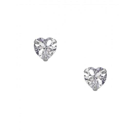 925 Sterling Silver  pair of Heart shape 3mm Single White Cubic Zircon (CZ) Stone Solitaire Stud Earrings For Men, Women, Girls & Boys