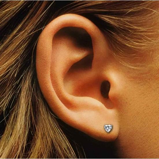 925 Sterling Silver pair of Heart shape 4mm Single White Cubic Zircon (CZ) Stone Solitaire Stud Earrings For Men, Women, Girls & Boys