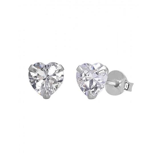 925 Sterling Silver pair of Heart shape 5mm Single White Cubic Zircon (CZ) Stone Solitaire Stud Earrings For Men, Women, Girls & Boys