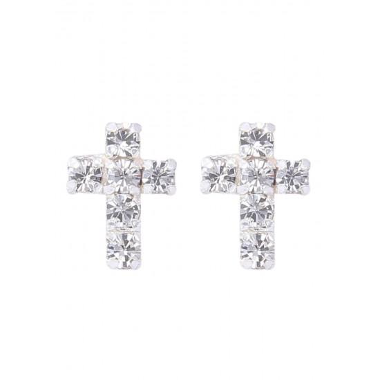 Unique Pair of Holy Cross shape Unisex studs in 925 Silver FOR MEN, WOMEN,GIRLS & BOYS