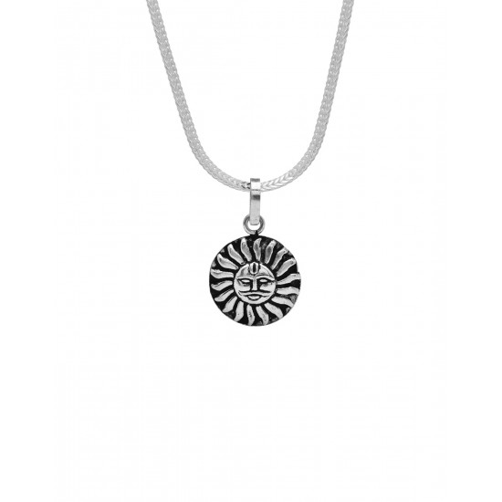 Surya Pendant with Chain Pure 92.5 Sterling Silver Unisex Pendant for Women and Men. Gift for Brother, Son, Father, Husband or friend for Birthday Marriage Anniversary