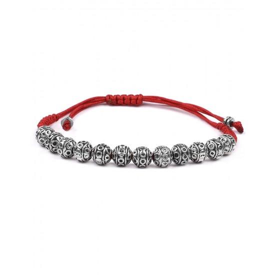 Handmade Beaded Silver Alloy Unisex Rakhi for Brother Bhabhi Bracelet for Men and Women