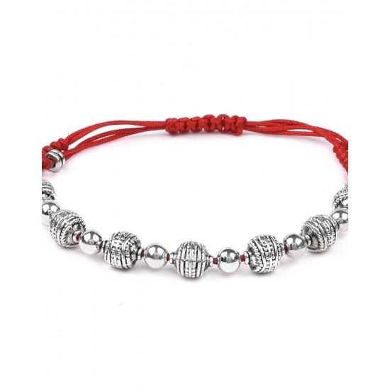 Handmade Beaded Red Thread Silver Alloy Unisex Rakhi for Brother Bhabhi Bracelet for Men and Women