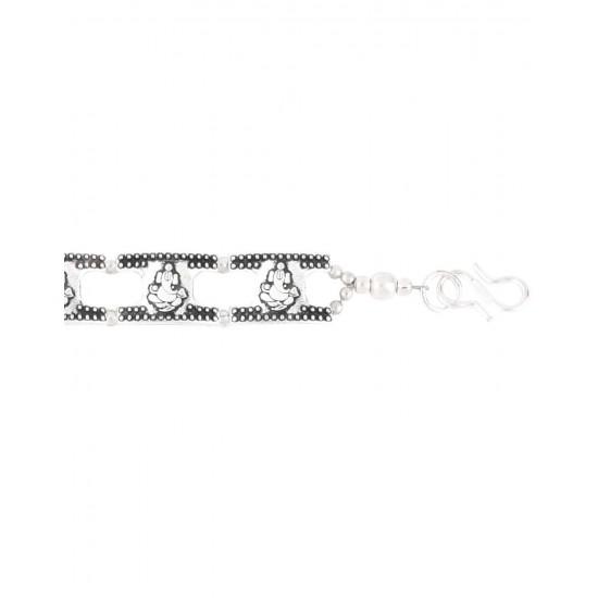 Ganesha Silver Alloy Adjustable Unisex Rakhi Bracelet for Bhaiya Brother Gift for Men Women