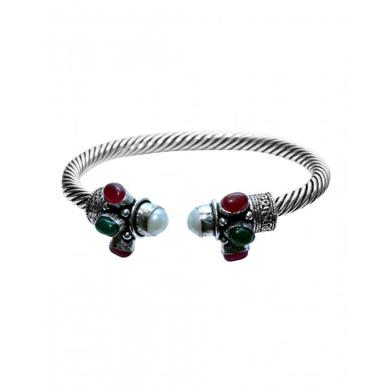 Handmade Designer Traditional Front Open Bangle/Kada Silver Alloy Multi Stone Pearl Ruby Emerald for Women and Girls Gift for Mom Bhabhi Sister Wife Friend Birthday Anniversary
