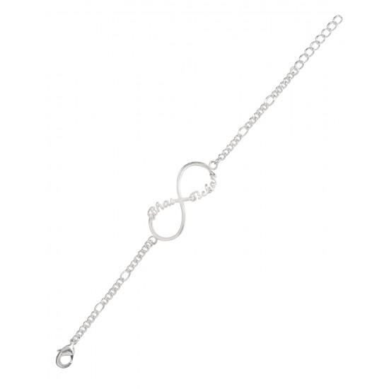 Silver Alloy Bhai Behen Infinity Bracelet Rakhi for Bhaiya Brother Stylish and Latest Gift for Men Boys