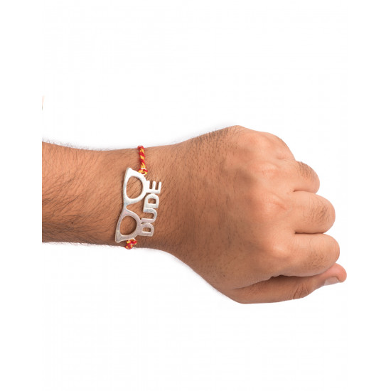 Silver Alloy Dude Engraved Thread Rakhi for Bhaiya Brother Stylish and Latest Gift for Men Boys