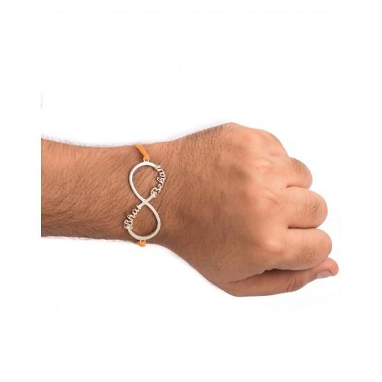 Silver Alloy Bhai Behen Infinity Engraved Thread Rakhi for Bhaiya Brother Stylish and Latest Gift for Men Boys