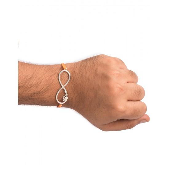 Silver Alloy Infinity Bro Engraved Thread Rakhi for Bhaiya Brother Stylish and Latest Gift for Men Boys