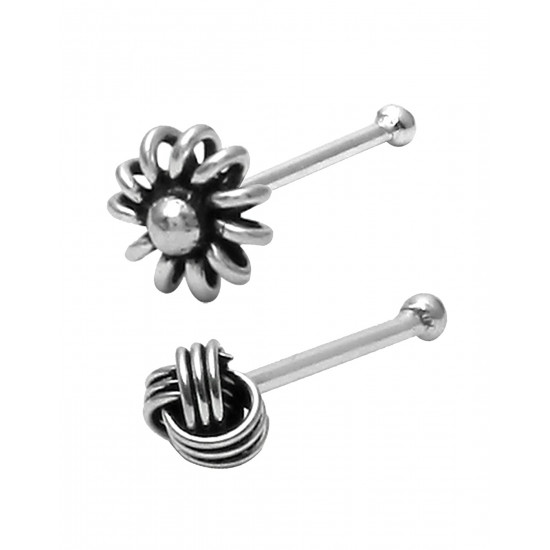 Combo of 92.5 Sterling Oxidized Silver Nose Stud for Women and Girls. Piercing Jewellery for Nose Helix Cartilage Tragus