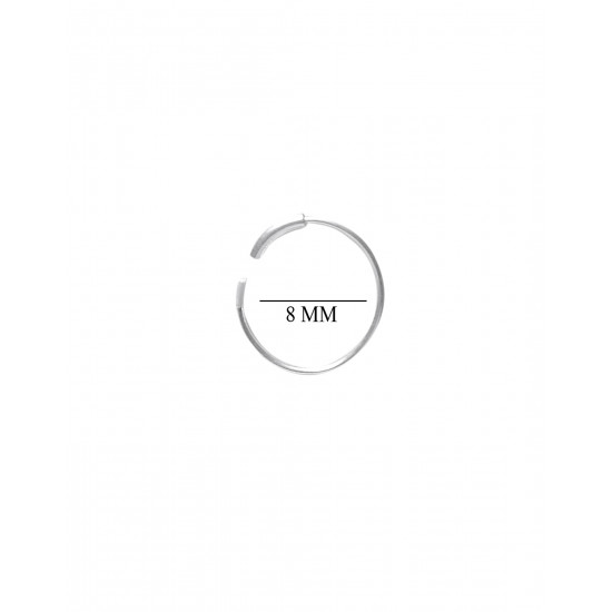 92.5 Sterling Silver 8 mm Nose Ring for Women and Girls for Multi Upper Piercing, Helix, Tragus, Cartilage and Lobe