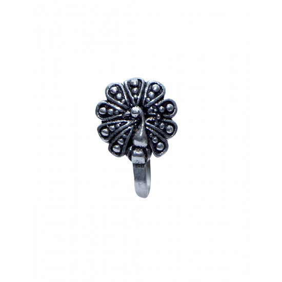 Peacock Clip On Press On Nose Pin in Silver Alloy for Girls and Women. Gift for Mother, Wife, Sister, Friend, Birthday Anniversary