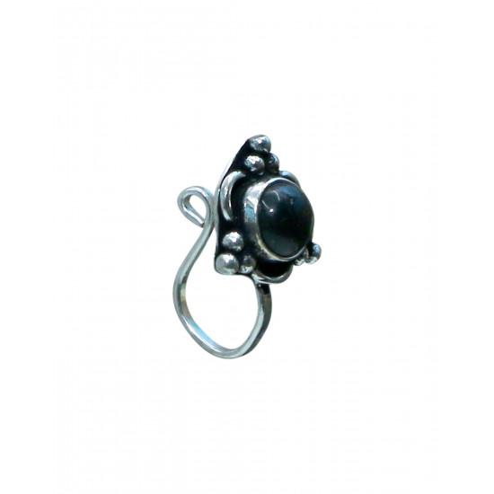 Black Onyx Oxidized Clip On Press On Nose Pin in Silver Alloy for Girls and Women. Gift for Mother, Wife, Sister, Friend, Birthday Anniversary