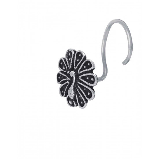 Trendy look Peacock Silver Alloy Nose pin for Women and Girls. Piercing required  Latest and Stylish Gift for friend Mother Wife Sister