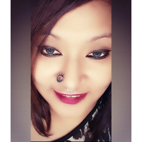 Designer Horse Shoe Look Silver Alloy Big Nose pin for Women and Girls. Piercing required.  Latest and Stylish Gift for Mother Wife Sister Friend