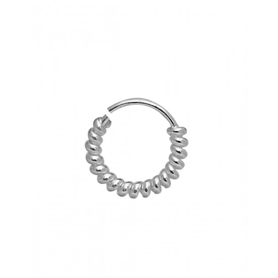 Spiral Single 92.5 Sterling Silver 6 mm Nose Ring for Women and Girls for Multi Upper Piercing, Helix, Tragus, Cartilage and Lobe