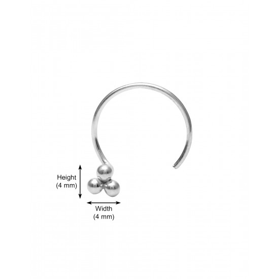 Tiny 3 dots Nose Pin with wire in 92.5 Sterling Oxidized Silver for Women and Girls. Latest and Stylish Gift for friend Mother Wife Sister