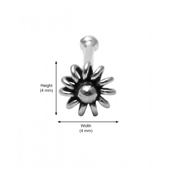 Flower shape Nose Pin (Bone Style) in 92.5 Oxidized Silver for Girls Piercing for Helix Cartilage Lobe Tragus