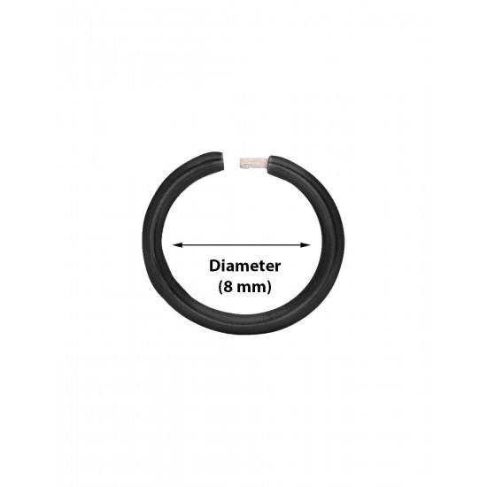 Black Enamel coated Nose ring in 92.5 Silver. Unisex Piercing Nose Ring or Piercing Jewellery for Girls and Women. Body jewellery for Septum Tragus Counch Helix Upper Ear Lobe