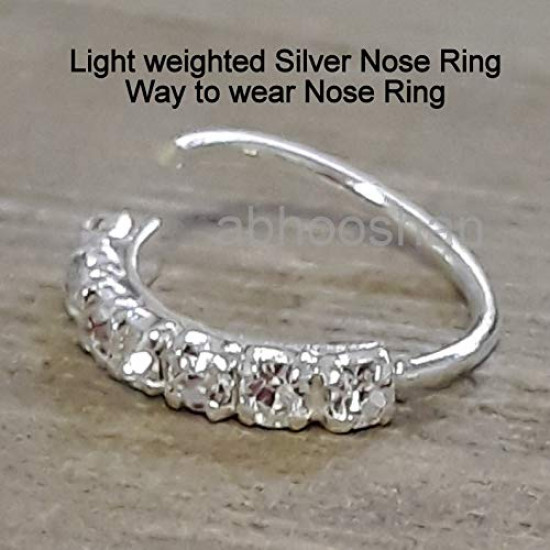 Designer White Cubic Zirconia CZ nose Ring in 92.5 Silver for Women and Girls for Pierced Nose. Piercing is required  Body jewellery for Septum Tragus Conch Helix