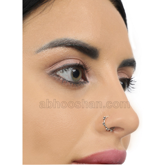 92.5 Sterling Silver Designer Nose Ring for Women and Girls. Stylish and Latest Ring for Multi Upper Piercing, Helix, Tragus, Septum, Cartilage and Lobe
