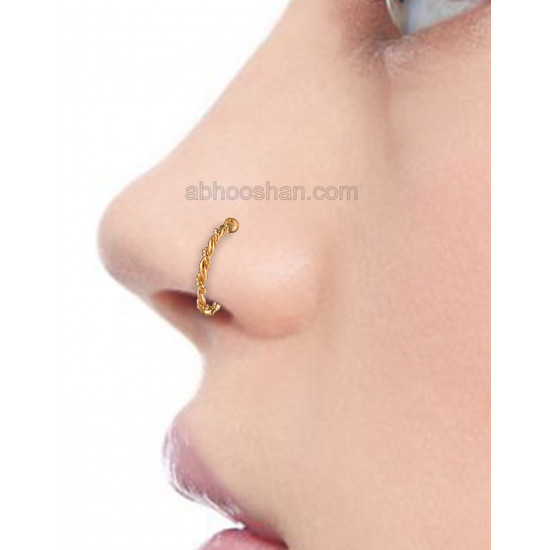 Clip On Gold Plated nose Ring in 92.5 Silver for Women and Girls. No piercing required Body jewellery for Septum Tragus Conch Helix