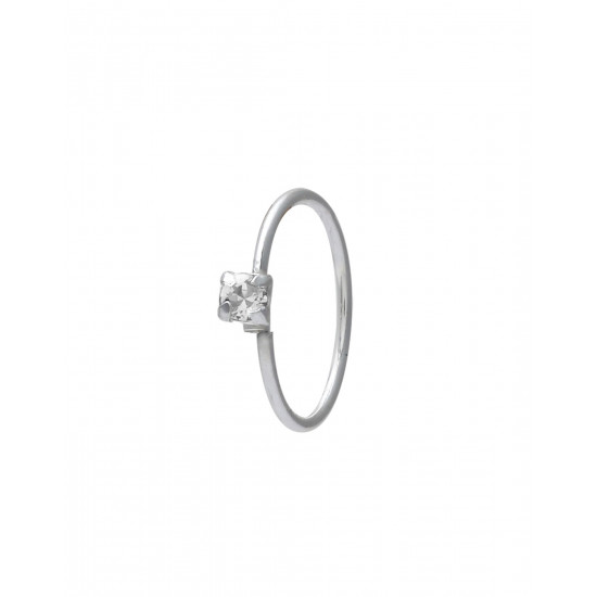 White CZ stone Single Nose Ring 92.5 Sterling Silver 8 mm for Women and Girls for Multi Upper Piercing, Helix, Tragus, Cartilage and Lobe