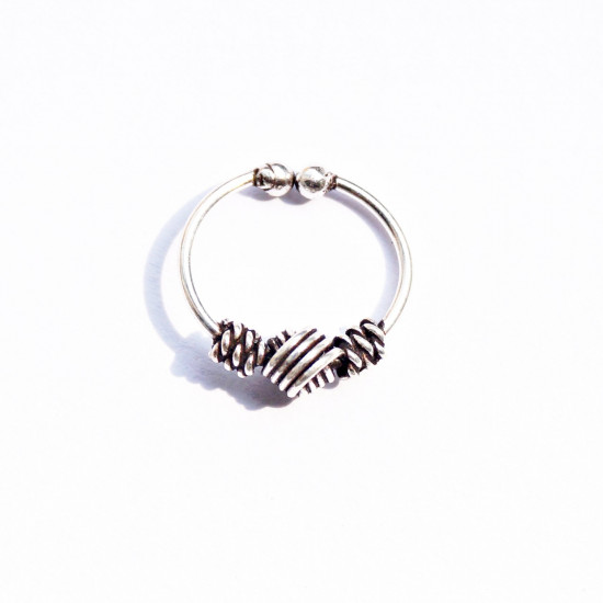 Pure 92.5 Sterling Silver Designer Press On Knots Nose Ring - No Piercing required - Clip-On. Stylish and Latest Body Jewelry for Septum Couch Helix