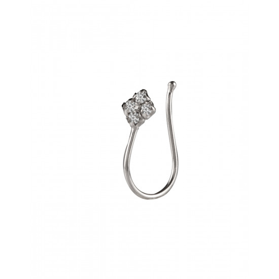 Light Weighted Clip on Nose Pin in 92.5 Silver and White Cubic Zirconia Stones. Non Piercing Nose Pin/ jewellery for Girls and Women