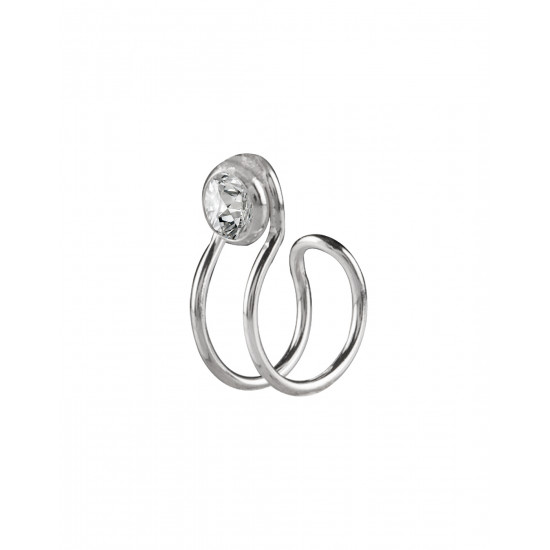 Clip on Nose Pin in 92.5 Silver and White Cubic Zirconia Stones. Non Piercing Nose Pin/ jewellery for Girls and Women