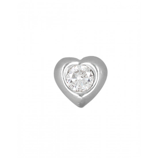Small Heart Nose Pin (Bone Style) in 92.5 Silver and White CZ for Girls Piercing Jewellery for Helix Cartilage Lobe Tragus