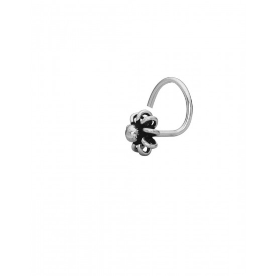 Trendy  Flower 4 mm Nose Pin with wire in 92.5 Sterling Oxidized Silver for Women and Girls. Latest and Stylish Gift for friend Mother Wife Sister