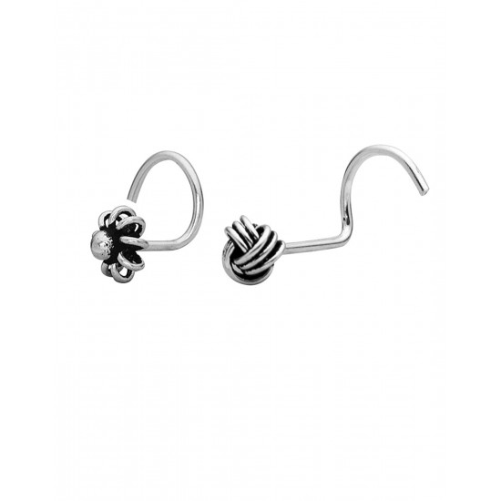 Combo of 92.5 Sterling Silver Flower and Knot Shape Nose Pin for Women and Girls. Piercing is required