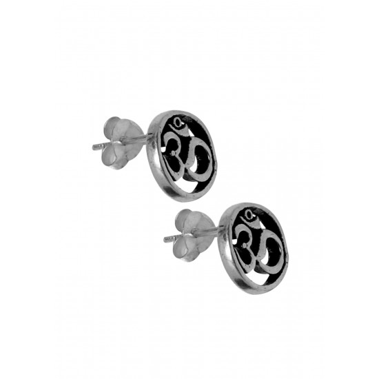 OM shape Unisex Oxidized light weighted Studs in 92.5 Silver for Men Boys Girls and Women. Gift for Anniversary Birthday