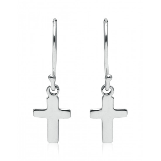 Beautiful and Delicate Unisex 92.5 Silver Cross Hanging Earrings Best Stylish Latest Birthday Anniversary Gift for Men and Women